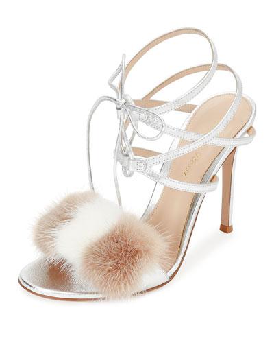 Mink-Fur Crisscross Sandal, Silver/Praline