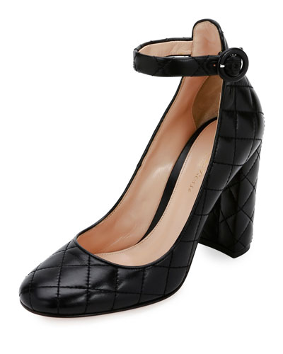 Greta Quilted Ankle-Wrap 100mm Pump, Black