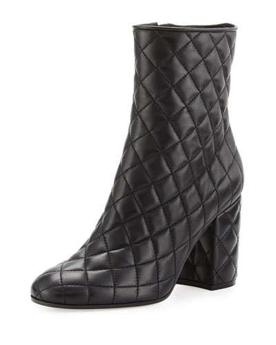 Quilted Leather 100mm Ankle Boot, Black
