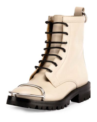 Lyndon Box Calf Combat Boot, Bone