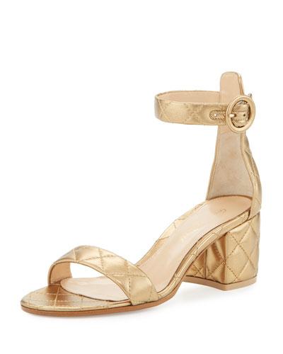 Versilia Quilted Metallic Mid-Heel Sandal, Glam