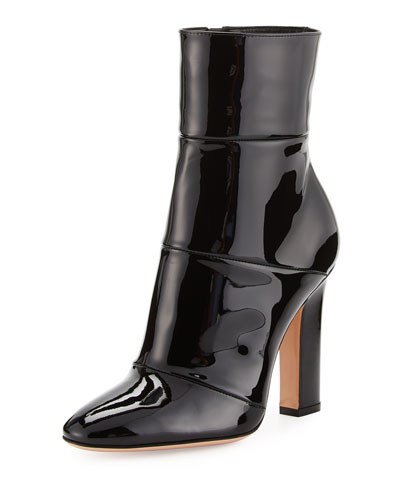 Patent Leather 105mm Ankle Boot, Black
