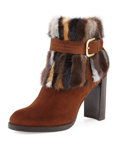 Gofurit Mink-Trim Ankle Boot, Brown