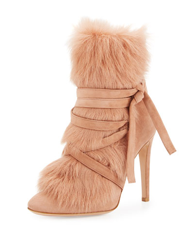 Shearling-Trim Suede 105mm Bootie, Praline