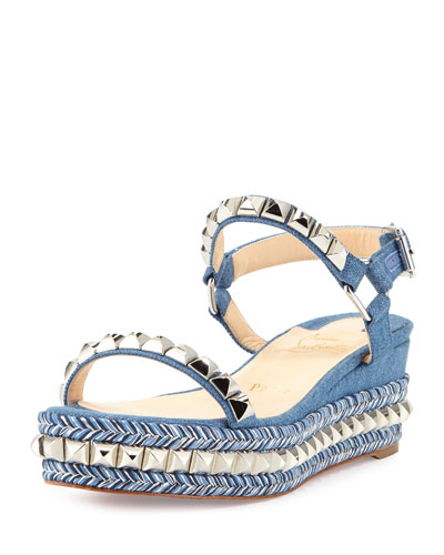 Cataclou Denim 60mm Wedge Red Sole Sandal, Blue/Silver