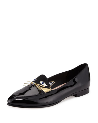 cecilia patent cat loafer flat, black/gold/white