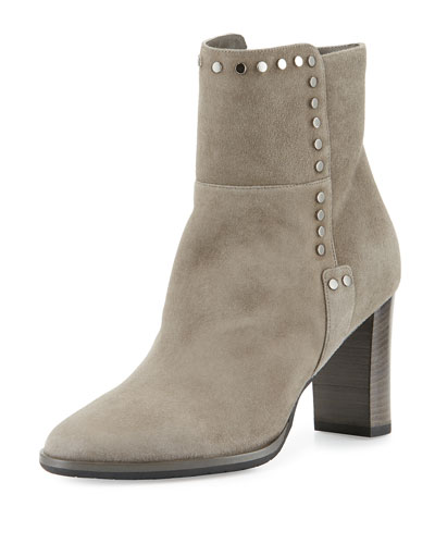 Harlow Studded Suede Bootie, Taupe Gray