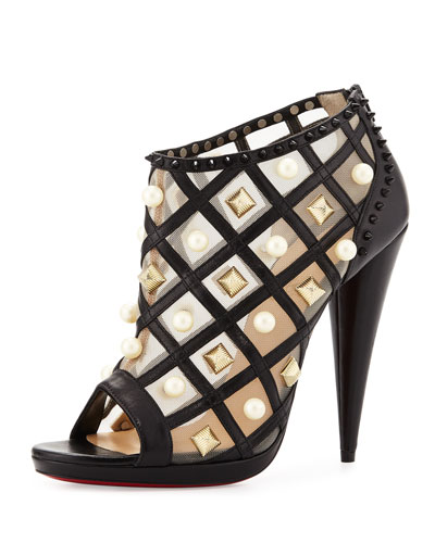 Pearly Lattice 120mm Red Sole Bootie, Black