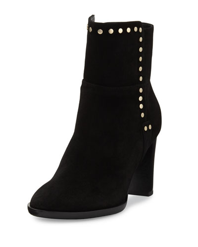 Harlow Studded Suede Bootie, Black
