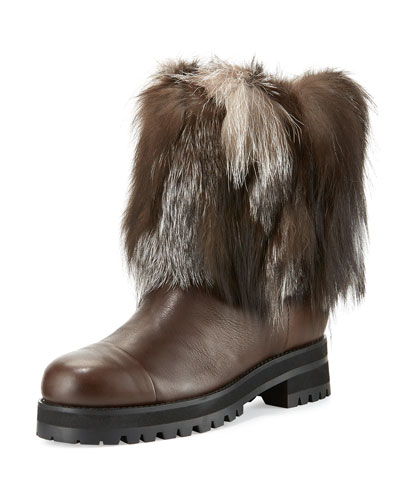 Dana Fur-Trimmed Leather Boot, Black/White