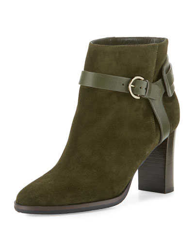 Hose Suede 80mm Bootie, Army Green