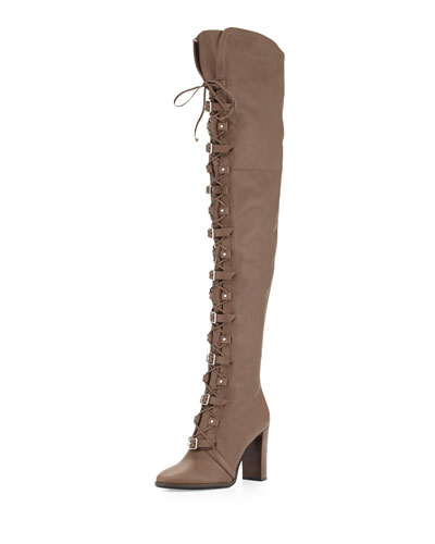 Maloy Leather 95mm Over-the-Knee Boot, Taupe Gray