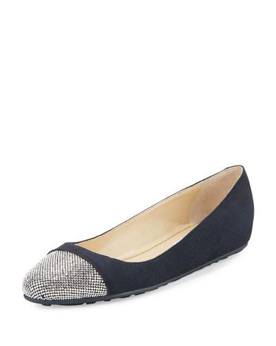 Waine Crystal-Toe Ballerina Flat, Navy/Silver