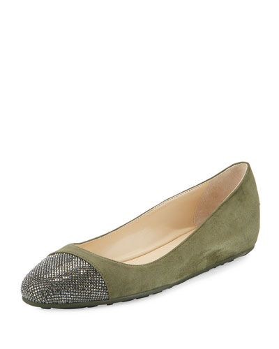 Waine Crystal-Toe Ballerina Flat, Army Green/Silver