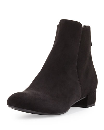 Suede Zip-Back 20mm Ankle Boot, Black (Nero)
