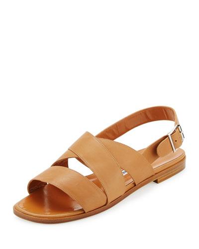 Cuture Leather Flat Sandal, Honey