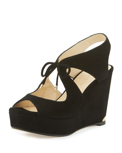 Nayeem Suede Tie Wedge Sandal, Black