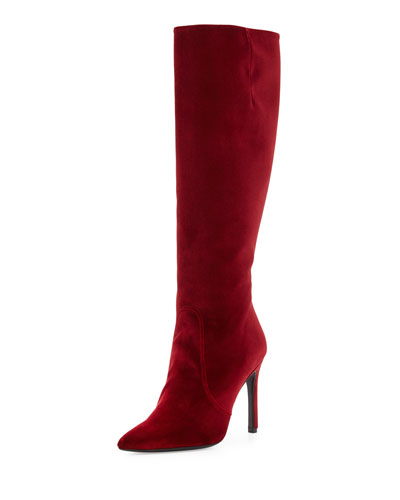 Hyper Pointed-Toe Velvet Knee Boot, Scarlet