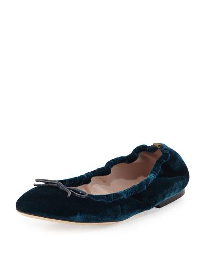 Gelsey Velvet Ballerina Flat, Petrolio
