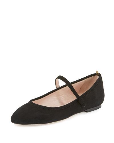 Sashay Suede Mary Jane Flat, Black