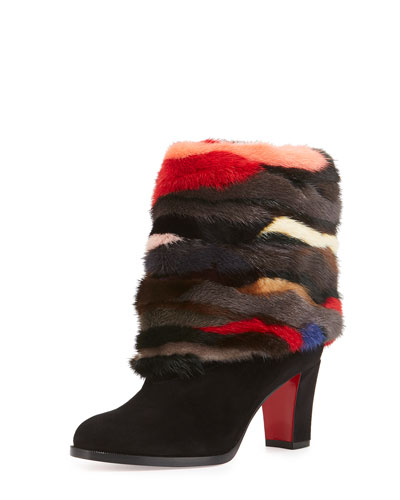 Mink-Cuff Suede 70mm Red Sole Bootie, Black