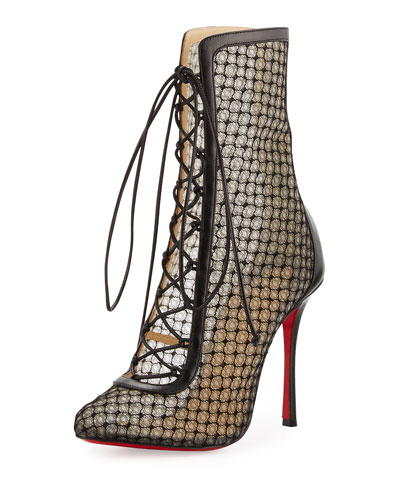 Lace 100mm Lace-Up Red Sole Bootie, Black
