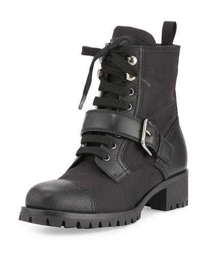 Leather Nylon Hiking Boot, Black (Nero)
