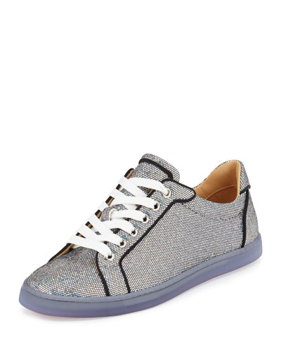 Seava Glitter Disco Red Sole Sneaker, Silver