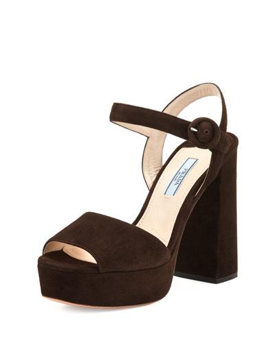 Suede Platform Ankle-Strap Sandal, Moro