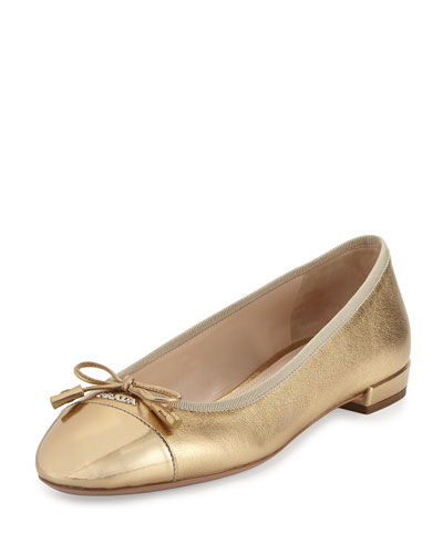 Cap-Toe Leather Ballerina Flat, Platinum (Platino)