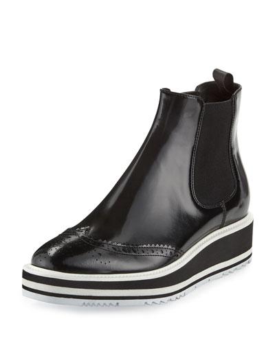 Micro-Sole Wing-Tip Chelsea Boot, Black (Nero)