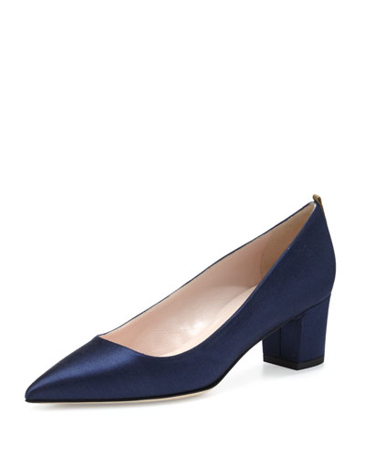 Katrina Satin Pointed-Toe Pump, Navy