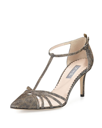 Carrie Shimmery T-Strap 70mm Pump, Camel