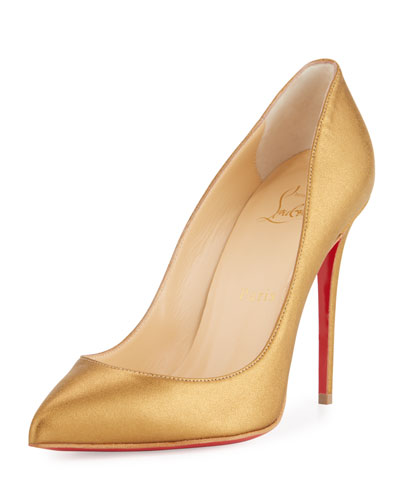 Pigalle Follies Leather 100mm Red Sole Pump, Bronze