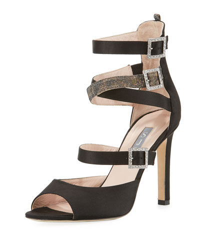 Fugue Strappy Satin Sandal, Black