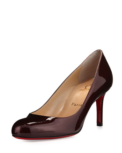 Simple Patent 70mm Red Sole Pump, Burgundy/Orthodox