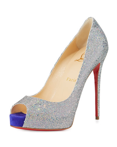 New Very Prive Glitter 120mm Red Sole Pump, Multi/Purple Pop