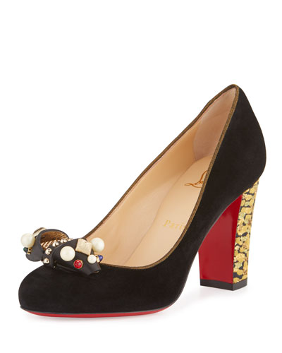 Tudor Trott Suede 85mm Red Sole Pump, Black