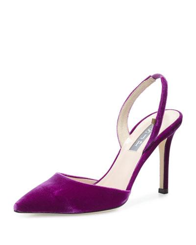 Bliss Velvet 90mm Slingback Pump, Purple