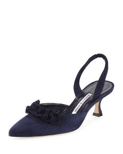 Carolyne Ruffled Low-Heel Halter Pump, Navy