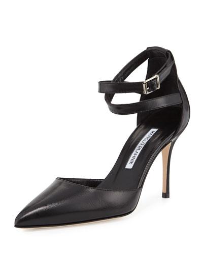 Perta Ankle-Wrap D'Orsay 90mm Pump, Black