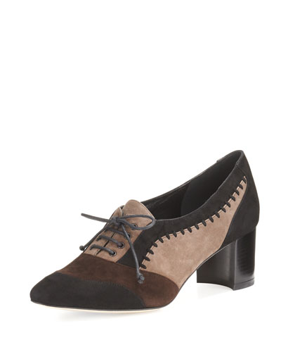 Suzanne Colorblock Suede 50mm Oxford, Black/Brown/Taupe