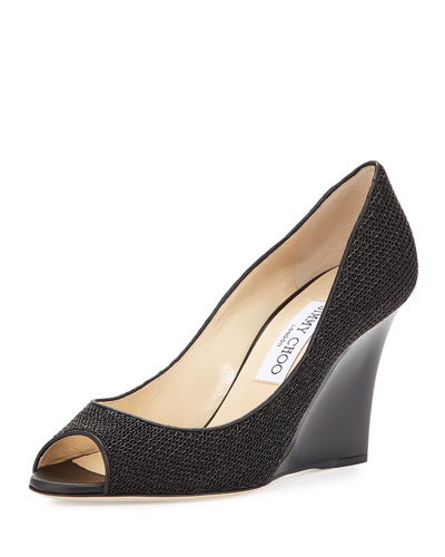 Baxen Chain-Fabric Peep-Toe Wedge Pump, Sand