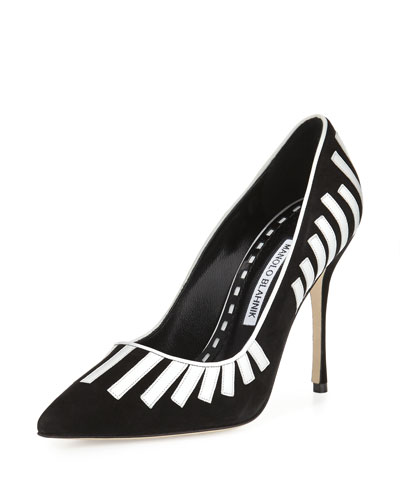 Pontanus Piano Suede Pump, Black/White