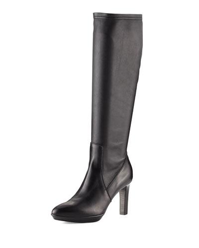 Rumbah Weatherproof Leather Knee Boot, Black