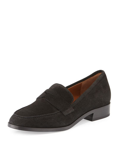 Sharon Embossed Suede Loafer, Black