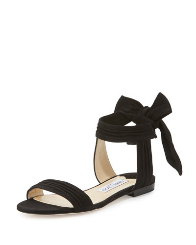 Kora Suede Ankle-Wrap Flat Sandal, Black