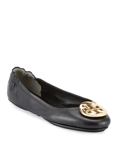 Minnie Travel Logo Ballerina Flat, Black/Gold