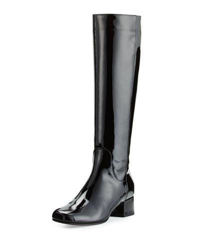 Laureen Weatherproof Patent Boot, Black