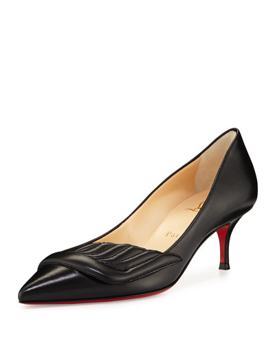 Miss Mars Leather 55mm Red Sole Pump, Black